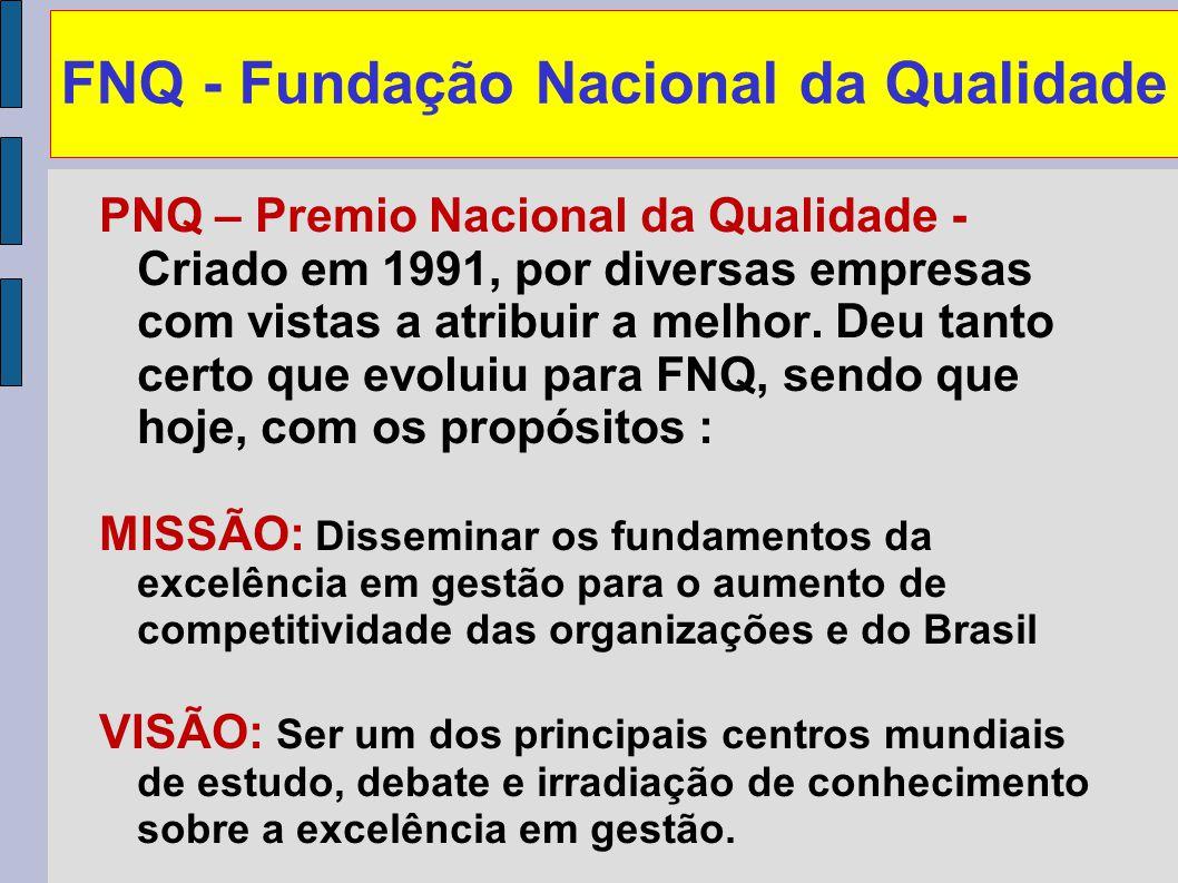 FNQ - Fundação Nacional da Qualidade PNQ – Premio Nacional da Qualidade - Criado em 1991, por diversas empresas com vistas a atribuir a melhor. Deu ta