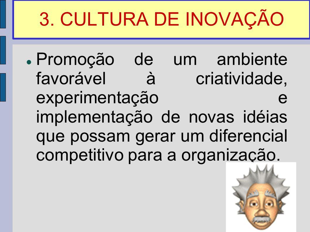 3. CULTURA DE INOVAÇÃO Promoção de um ambiente favorável à criatividade, experimentação e implementação de novas idéias que possam gerar um diferencia