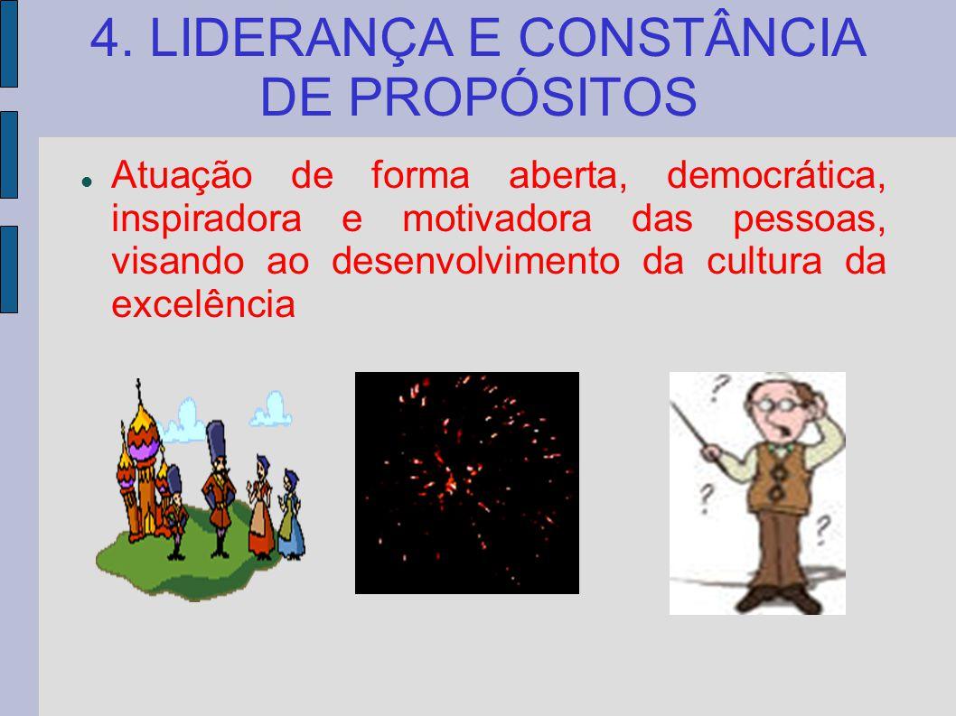 4. LIDERANÇA E CONSTÂNCIA DE PROPÓSITOS Atuação de forma aberta, democrática, inspiradora e motivadora das pessoas, visando ao desenvolvimento da cult