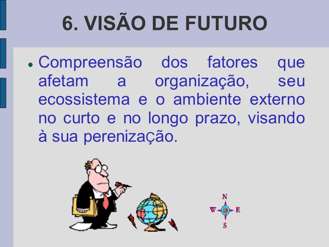 6. VISÃO DE FUTURO Compreensão dos fatores que afetam a organização, seu ecossistema e o ambiente externo no curto e no longo prazo, visando à sua per