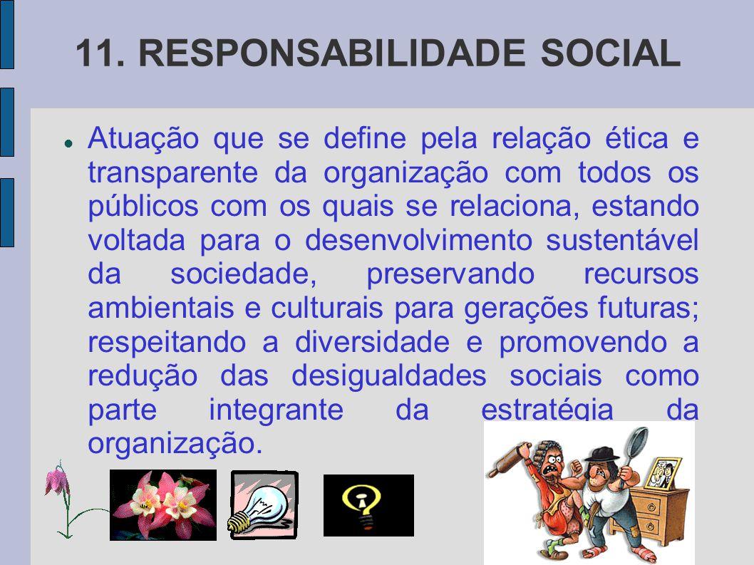 11. RESPONSABILIDADE SOCIAL Atuação que se define pela relação ética e transparente da organização com todos os públicos com os quais se relaciona, es