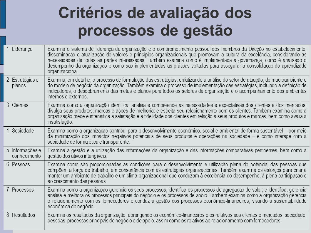 Critérios de avaliação dos processos de gestão 1LiderançaExamina o sistema de liderança da organização e o comprometimento pessoal dos membros da Dire