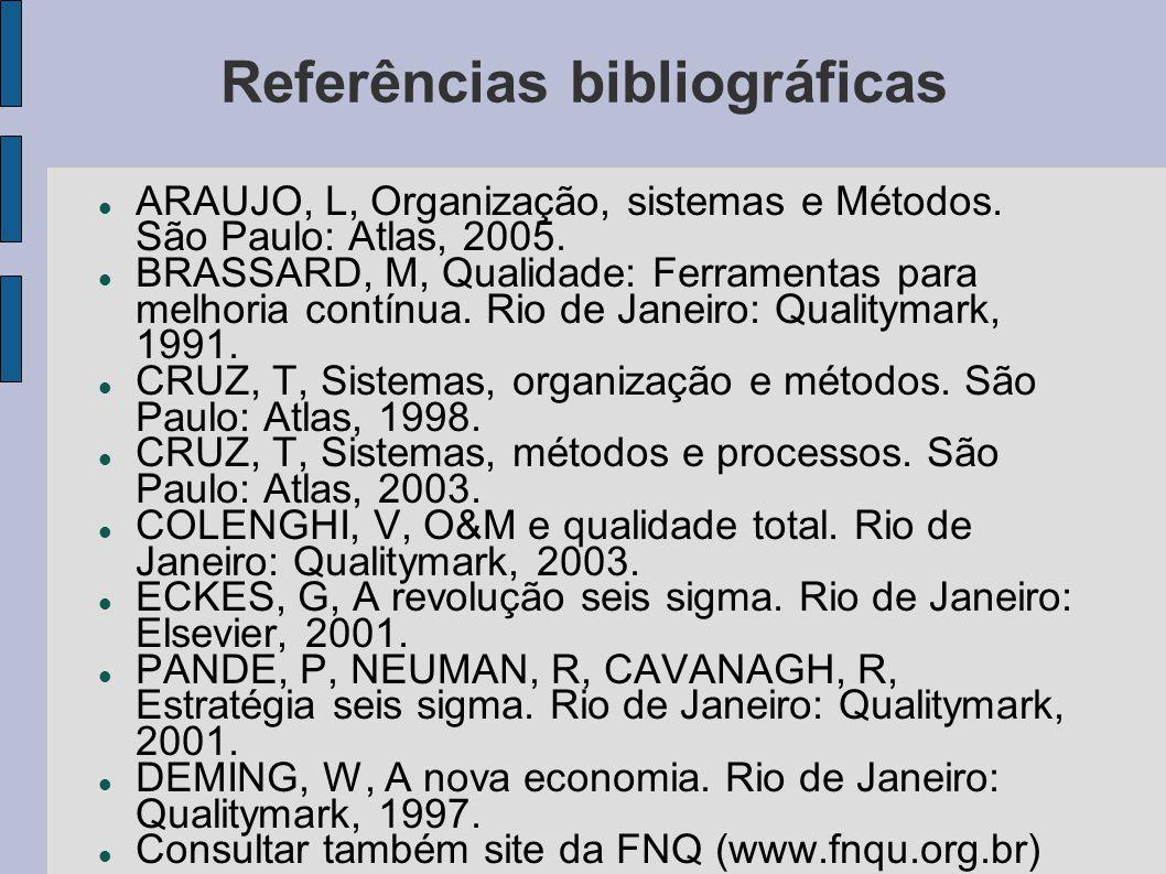 Referências bibliográficas ARAUJO, L, Organização, sistemas e Métodos. São Paulo: Atlas, 2005. BRASSARD, M, Qualidade: Ferramentas para melhoria contí