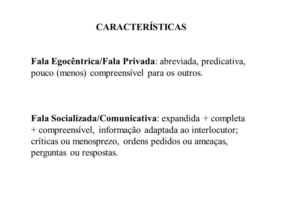 CARACTERÍSTICAS Fala Egocêntrica/Fala Privada: abreviada, predicativa, pouco (menos) compreensível para os outros. Fala Socializada/Comunicativa: expa