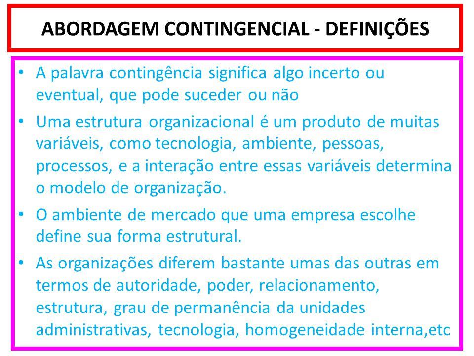Pesquisa de Burns e Stalker - Organizações Mecanísticas X Orgânicas Características das organizações Mecanísticas: Estrutura burocrática assentada em minuciosa divisão de trabalho; Cargos ocupados por especialistas com atribuições perfeitamente definidas; Altamente centralizadas, as decisões são tomadas nos níveis superiores da empresa; Hierarquia rígida, baseada no comando; Sistema simples de controle: a informação sobe e descem através de uma sucessão de filtros; Predomínio da interação vertical entre superior-subordinado; Amplitude de controle do supervisor mais estreita; Maior confiança nas regras e procedimentos formais; Ênfase nos princípios da Teoria Clássica.
