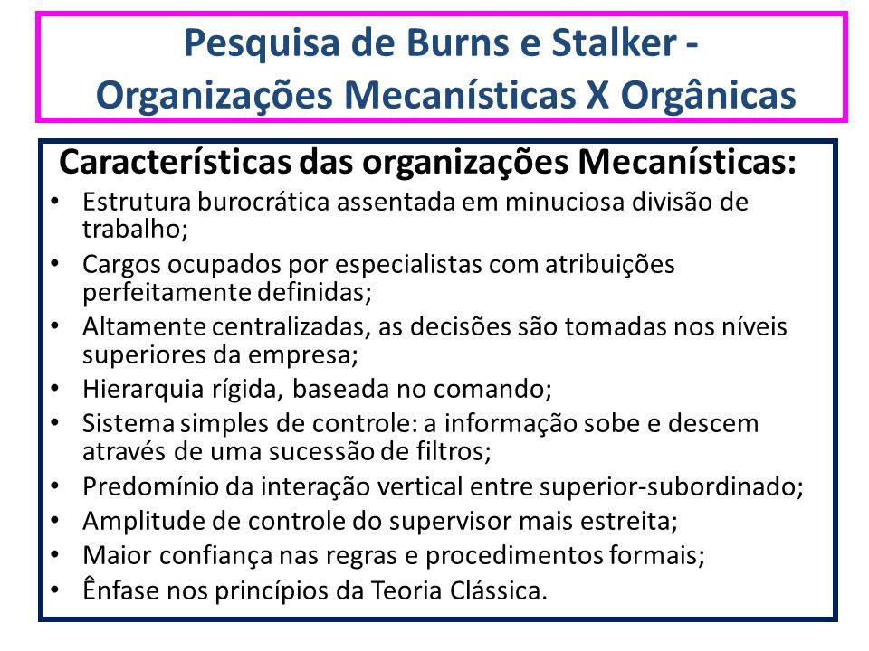 Pesquisa de Burns e Stalker - Organizações Mecanísticas X Orgânicas Características das organizações Mecanísticas: Estrutura burocrática assentada em