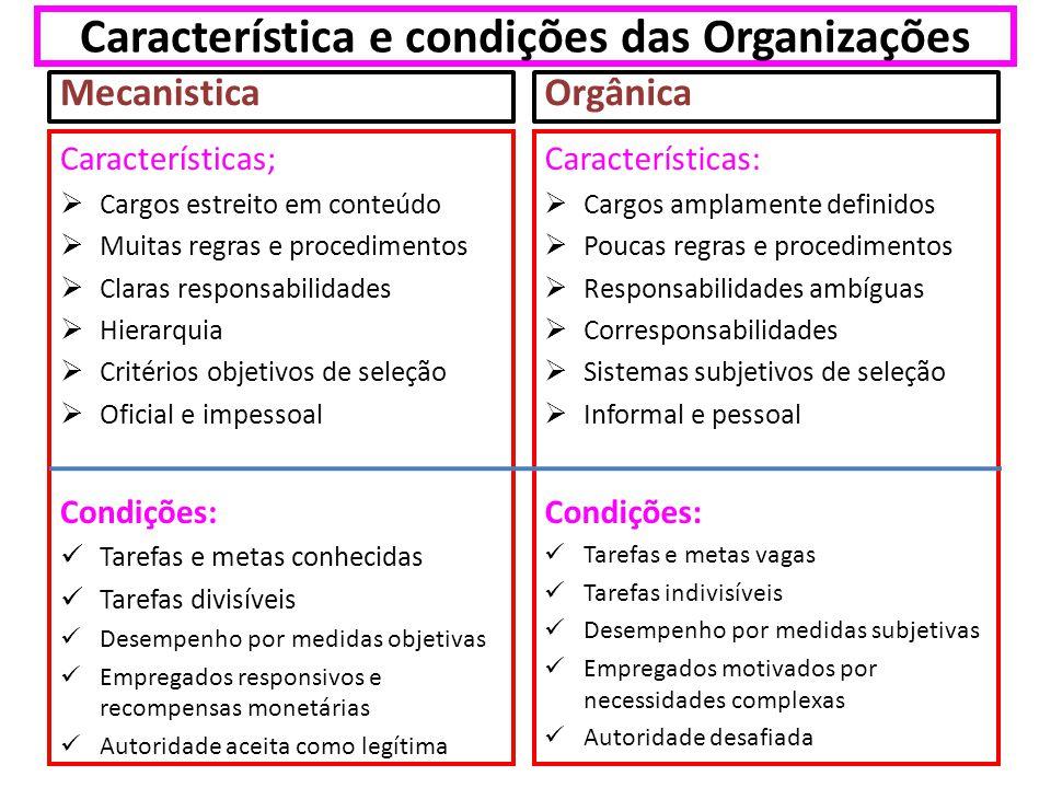 Característica e condições das Organizações Mecanistica Características; Cargos estreito em conteúdo Muitas regras e procedimentos Claras responsabili