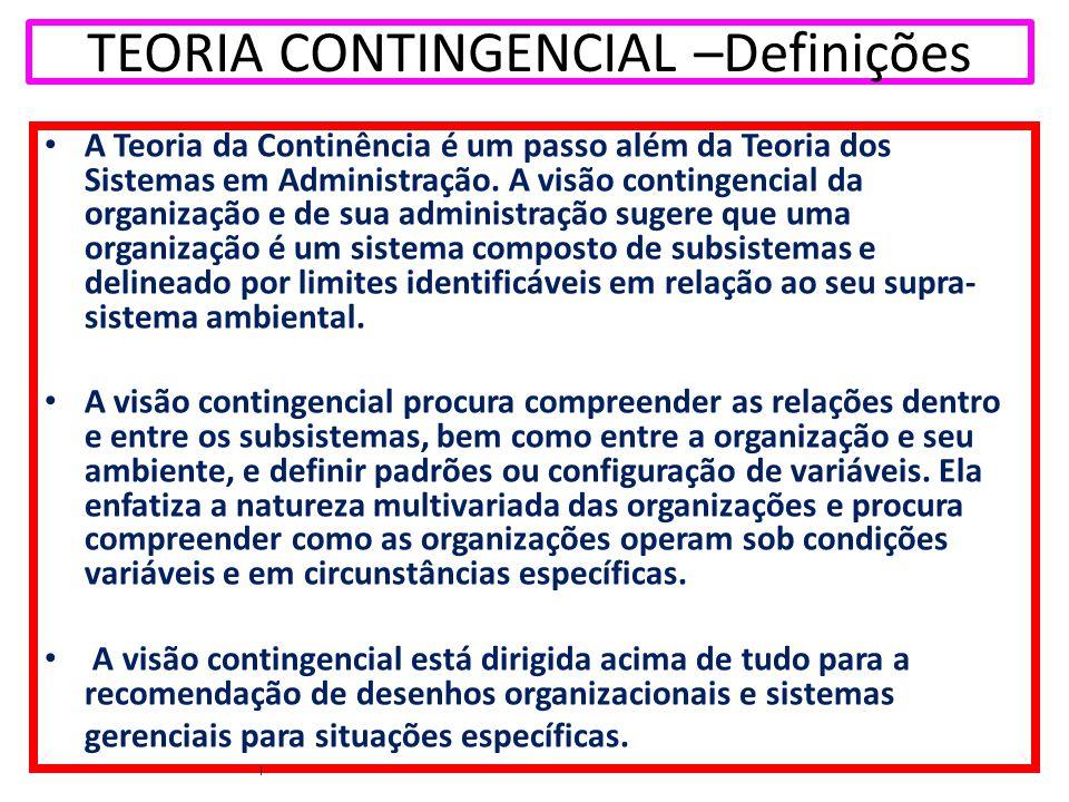 TEORIA CONTINGENCIAL –Definições A Teoria da Continência é um passo além da Teoria dos Sistemas em Administração. A visão contingencial da organização