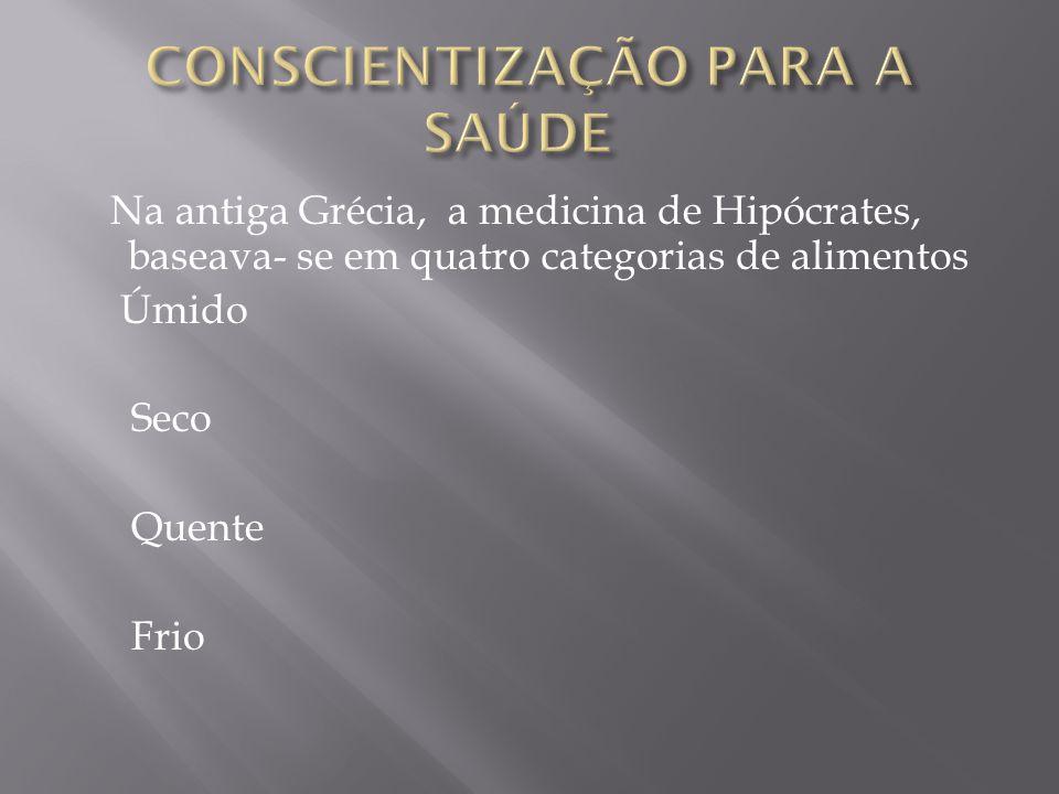 Na antiga Grécia, a medicina de Hipócrates, baseava- se em quatro categorias de alimentos Úmido Seco Quente Frio