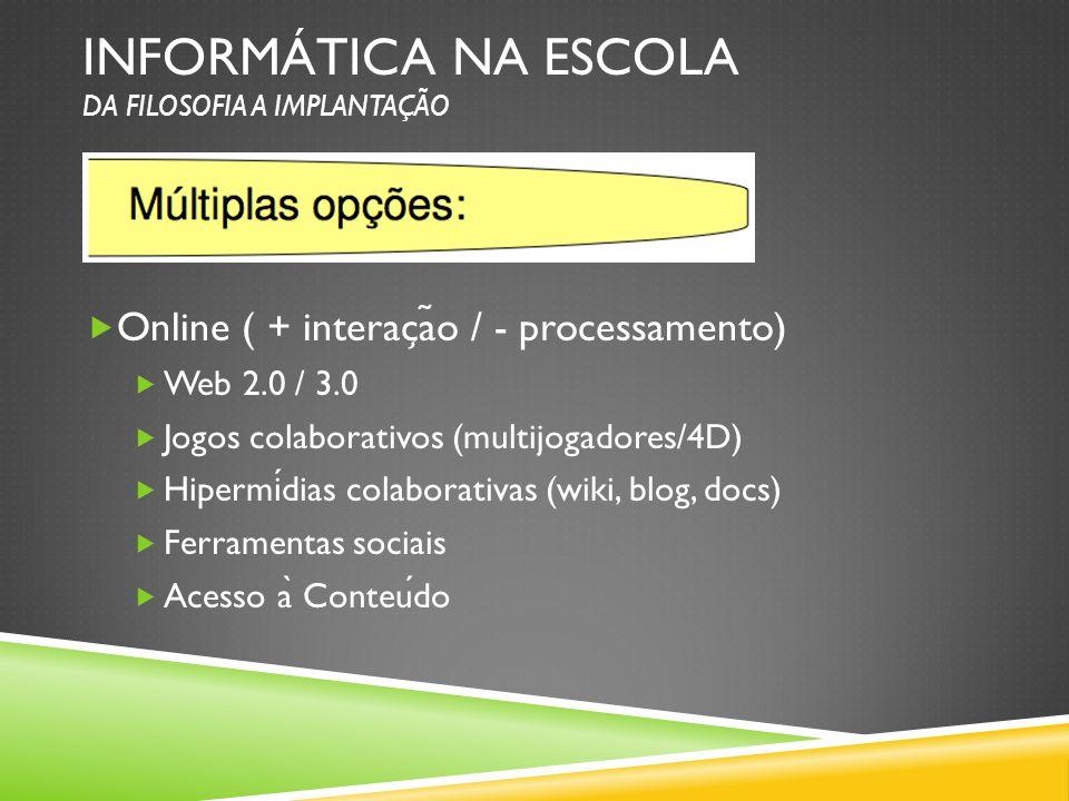 INFORMÁTICA NA ESCOLA DA FILOSOFIA A IMPLANTAÇÃO Online ( + interac ̧ a ̃ o / - processamento) Web 2.0 / 3.0 Jogos colaborativos (multijogadores/4D) H