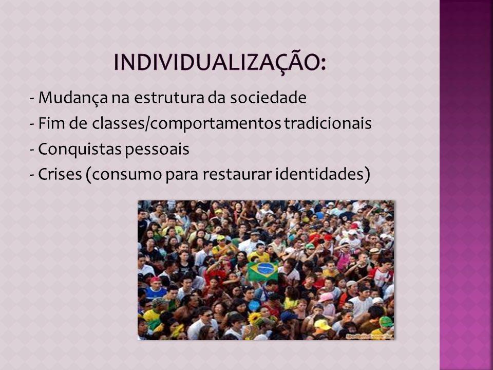 - Mudança na estrutura da sociedade - Fim de classes/comportamentos tradicionais - Conquistas pessoais - Crises (consumo para restaurar identidades)