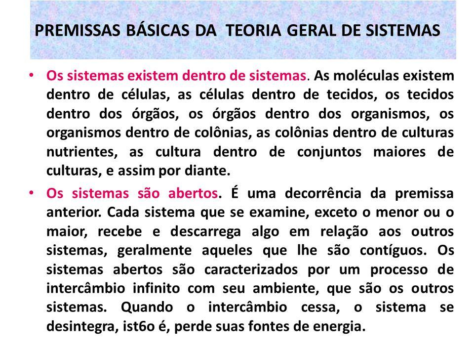 PREMISSAS BÁSICAS DA TEORIA GERAL DE SISTEMAS Os sistemas existem dentro de sistemas. As moléculas existem dentro de células, as células dentro de tec