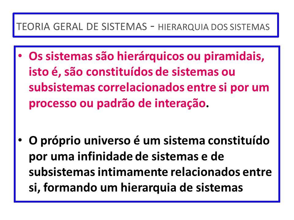 TEORIA GERAL DE SISTEMAS - HIERARQUIA DOS SISTEMAS Os sistemas são hierárquicos ou piramidais, isto é, são constituídos de sistemas ou subsistemas cor
