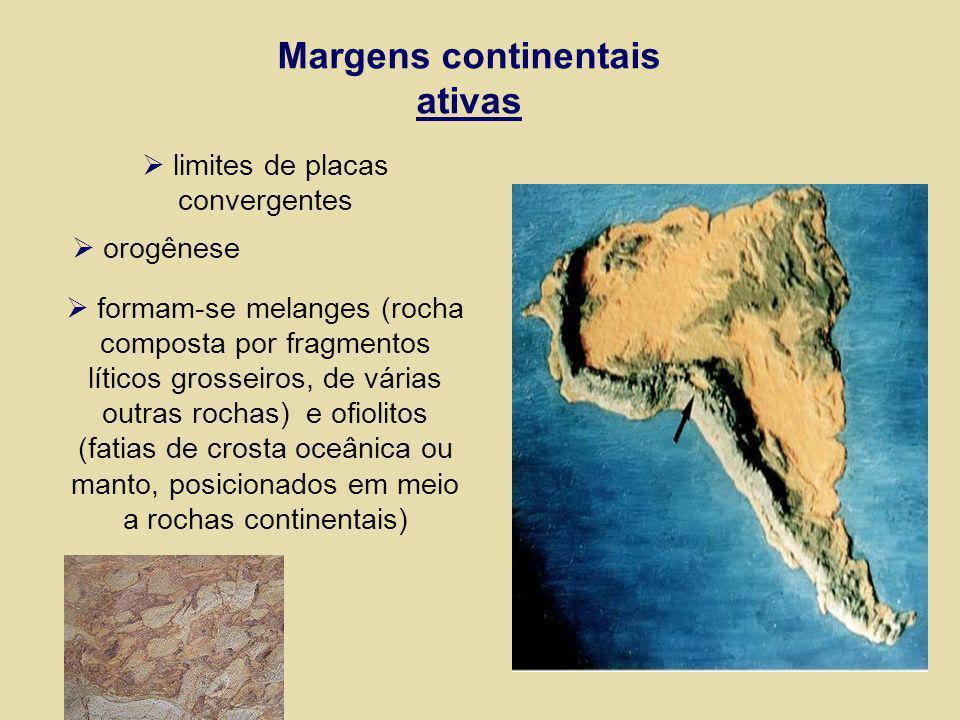 Margens continentais ativas limites de placas convergentes orogênese formam-se melanges (rocha composta por fragmentos líticos grosseiros, de várias o