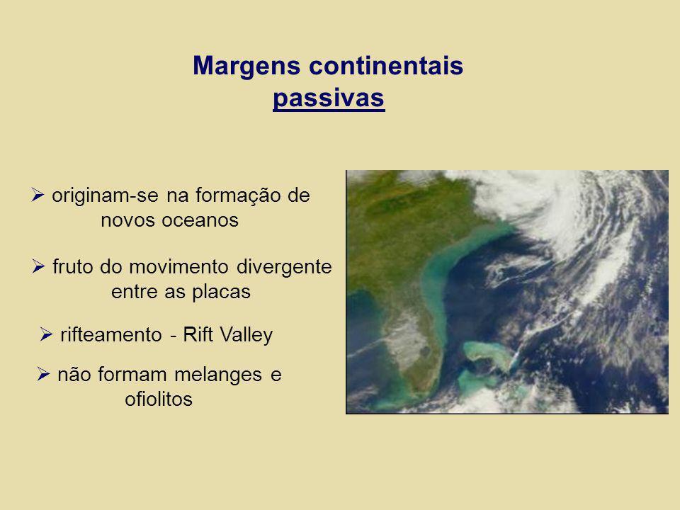 Margens continentais passivas originam-se na formação de novos oceanos fruto do movimento divergente entre as placas rifteamento - Rift Valley não for