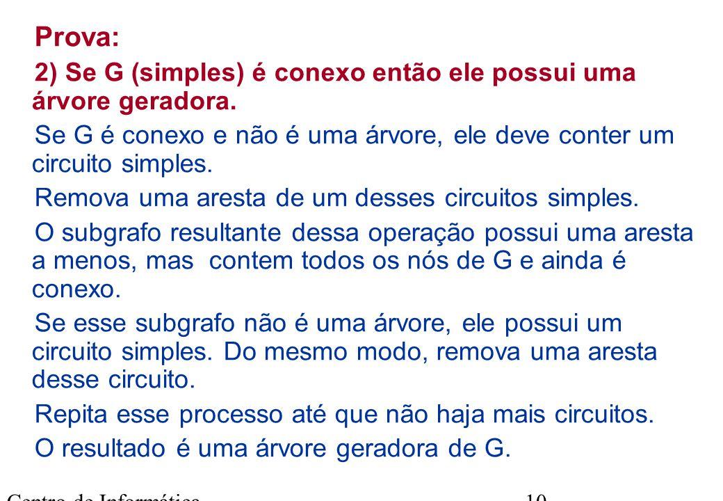 Centro de Informática - UFPE 10 Prova: 2) Se G (simples) é conexo então ele possui uma árvore geradora. Se G é conexo e não é uma árvore, ele deve con