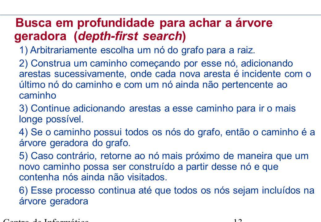 Centro de Informática - UFPE 13 Busca em profundidade para achar a árvore geradora (depth-first search) 1) Arbitrariamente escolha um nó do grafo para
