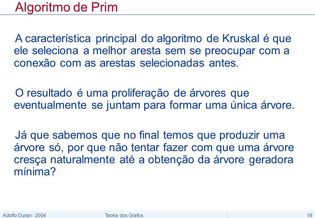 Adolfo Duran - 2004Teoria dos Grafos19 Algoritmo de Prim A característica principal do algoritmo de Kruskal é que ele seleciona a melhor aresta sem se