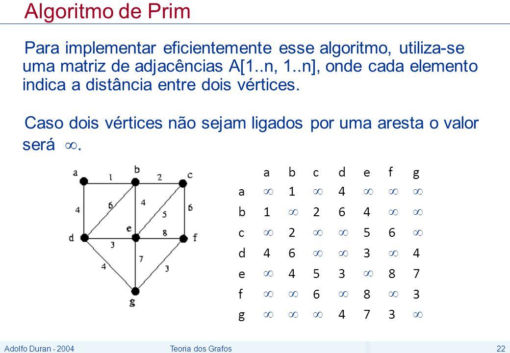 Adolfo Duran - 2004Teoria dos Grafos22 abcdefg a 1 4 b1 264 c 2 56 d46 3 4 e 453 87 f 6 8 3 g 473 Algoritmo de Prim Para implementar eficientemente es