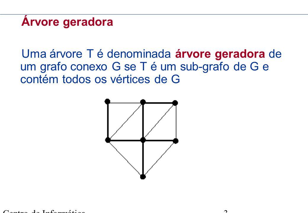 Centro de Informática - UFPE 3 Árvore geradora Uma árvore T é denominada árvore geradora de um grafo conexo G se T é um sub-grafo de G e contém todos