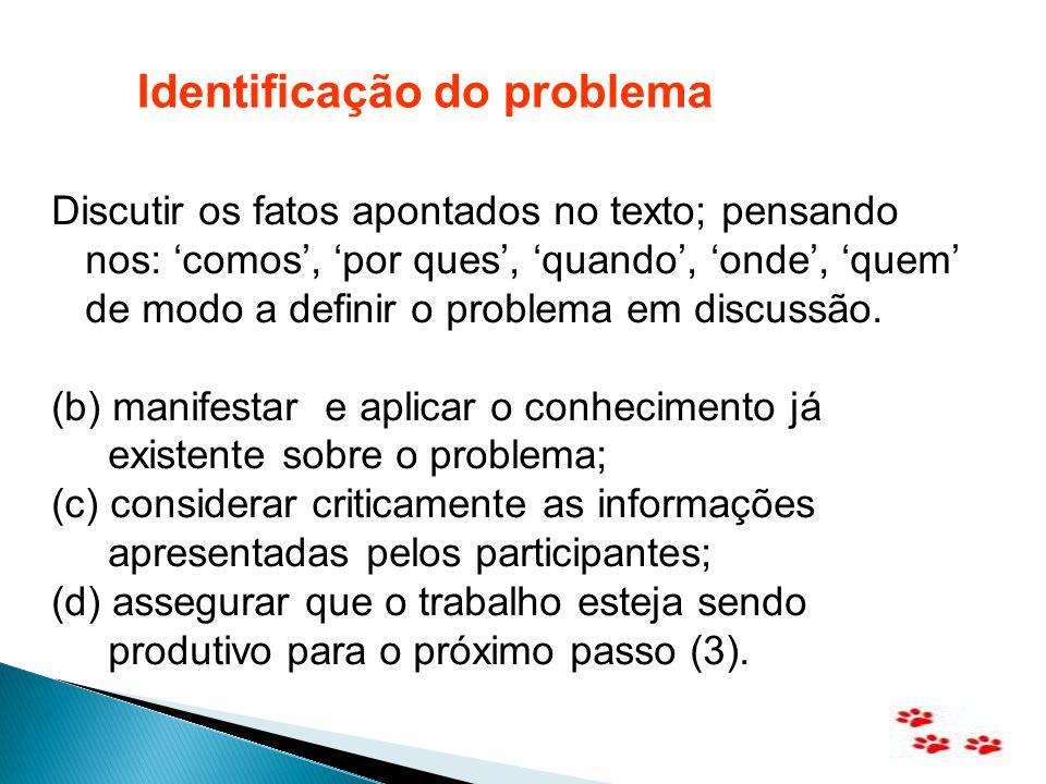Discutir os fatos apontados no texto; pensando nos: comos, por ques, quando, onde, quem de modo a definir o problema em discussão. (b) manifestar e ap
