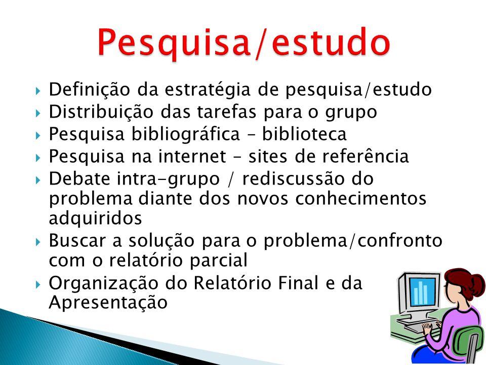 Definição da estratégia de pesquisa/estudo Distribuição das tarefas para o grupo Pesquisa bibliográfica – biblioteca Pesquisa na internet – sites de r
