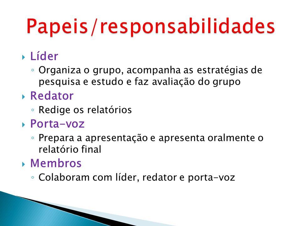 Líder Organiza o grupo, acompanha as estratégias de pesquisa e estudo e faz avaliação do grupo Redator Redige os relatórios Porta-voz Prepara a aprese