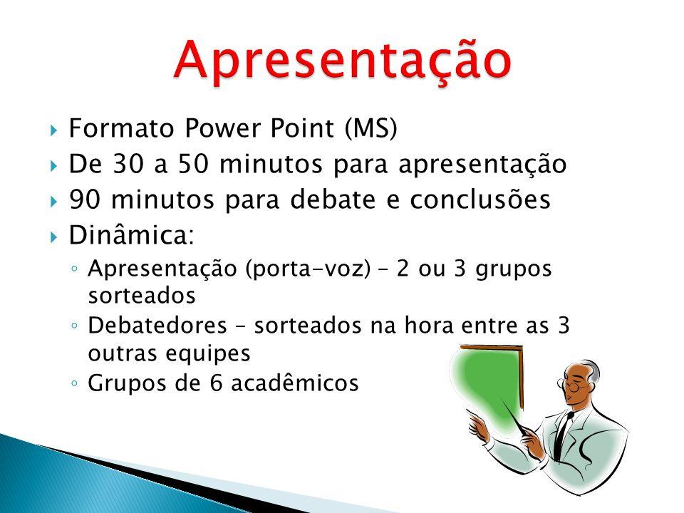 Formato Power Point (MS) De 30 a 50 minutos para apresentação 90 minutos para debate e conclusões Dinâmica: Apresentação (porta-voz) – 2 ou 3 grupos s