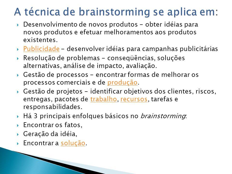 Desenvolvimento de novos produtos - obter idéias para novos produtos e efetuar melhoramentos aos produtos existentes. Publicidade - desenvolver idéias