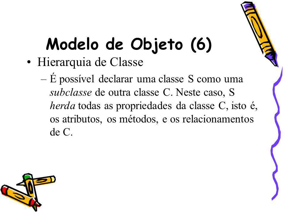 Modelo de Objeto (6) Hierarquia de Classe –É possível declarar uma classe S como uma subclasse de outra classe C. Neste caso, S herda todas as proprie