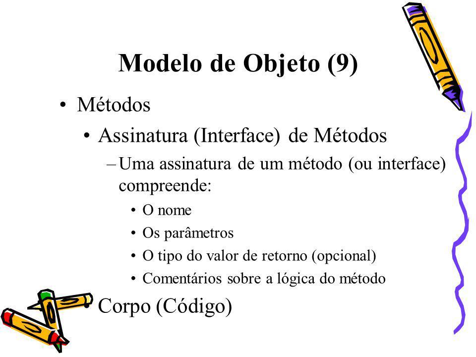 Modelo de Objeto (9) Métodos Assinatura (Interface) de Métodos –Uma assinatura de um método (ou interface) compreende: O nome Os parâmetros O tipo do