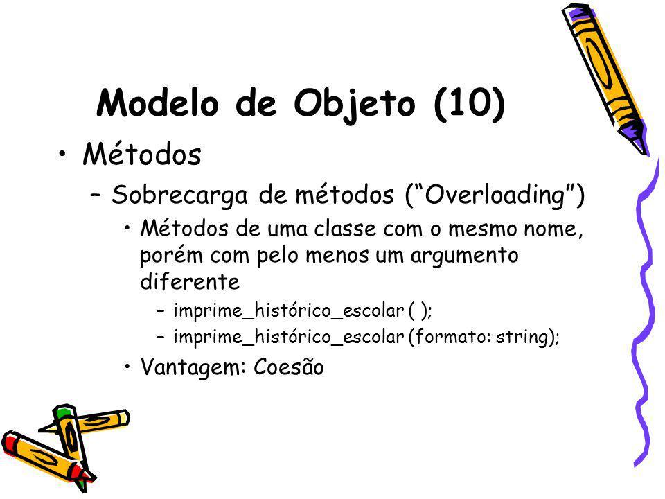 Modelo de Objeto (10) Métodos –Sobrecarga de métodos (Overloading) Métodos de uma classe com o mesmo nome, porém com pelo menos um argumento diferente