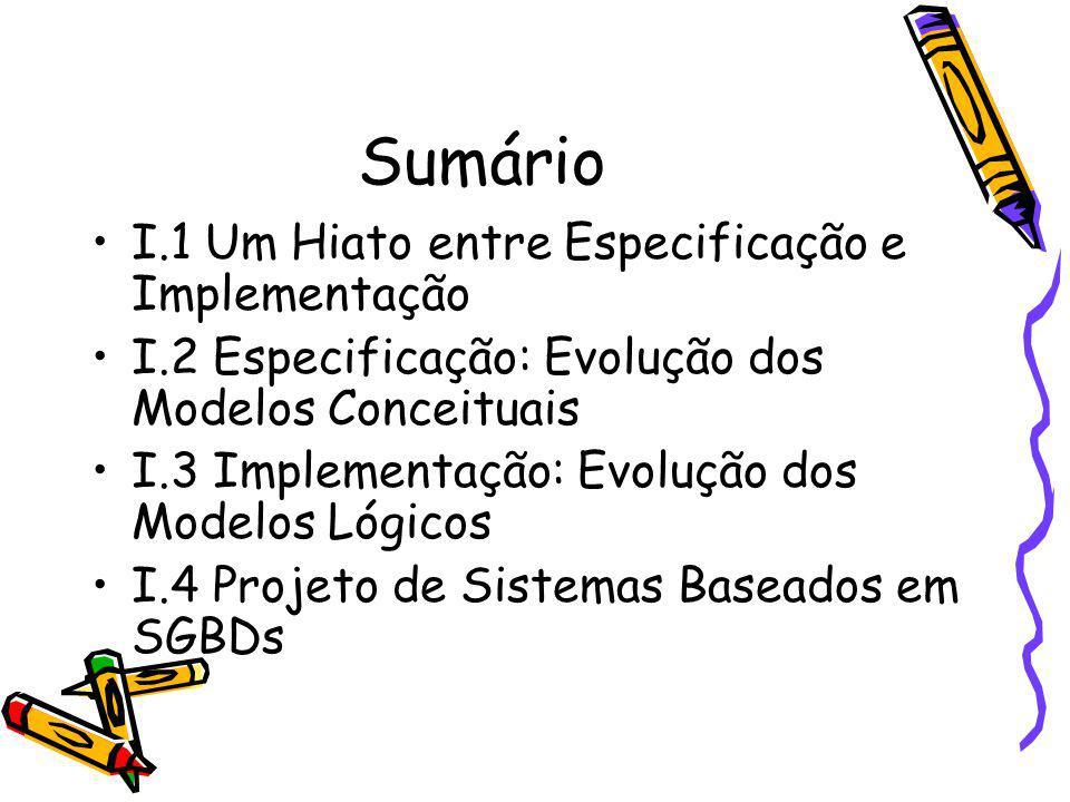 Sumário I.1 Um Hiato entre Especificação e Implementação I.2 Especificação: Evolução dos Modelos Conceituais I.3 Implementação: Evolução dos Modelos L