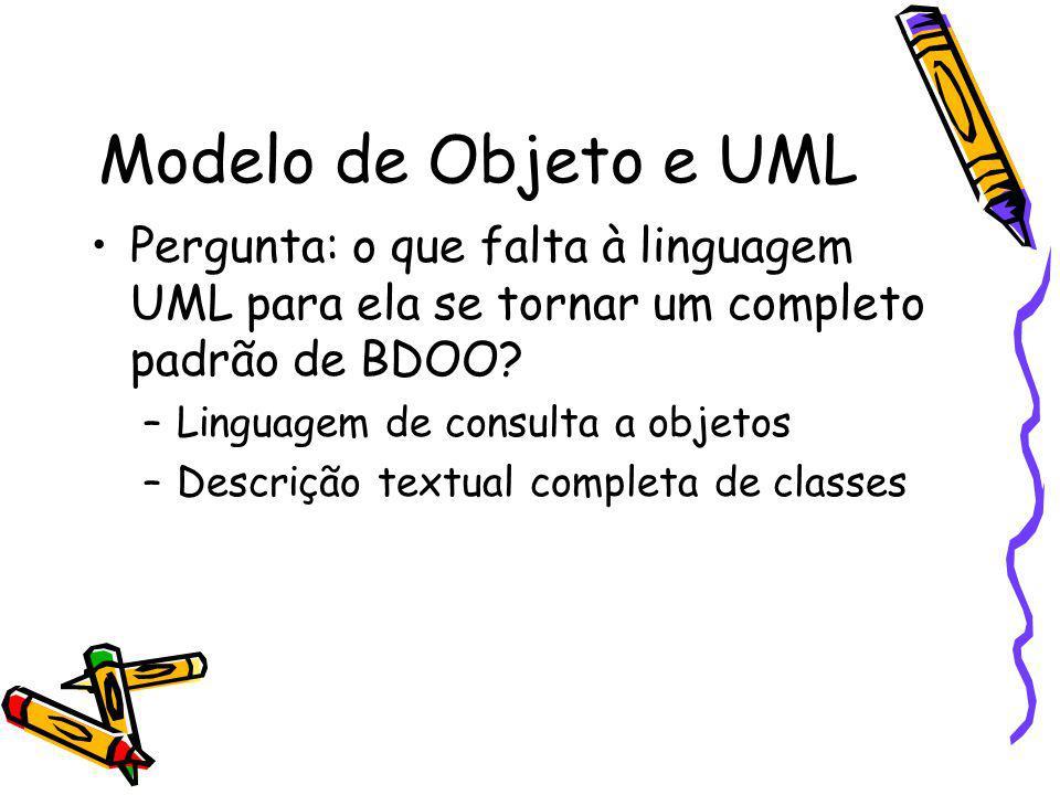 Modelo de Objeto e UML Pergunta: o que falta à linguagem UML para ela se tornar um completo padrão de BDOO? –Linguagem de consulta a objetos –Descriçã