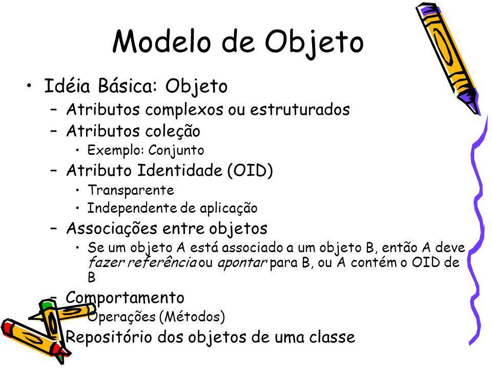 Modelo de Objeto Idéia Básica: Objeto –Atributos complexos ou estruturados –Atributos coleção Exemplo: Conjunto –Atributo Identidade (OID) Transparent