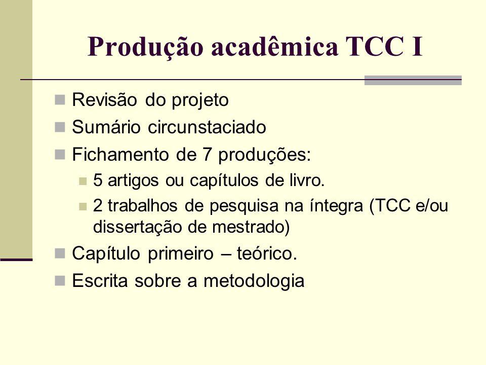 Produção acadêmica TCC I Revisão do projeto Sumário circunstaciado Fichamento de 7 produções: 5 artigos ou capítulos de livro. 2 trabalhos de pesquisa
