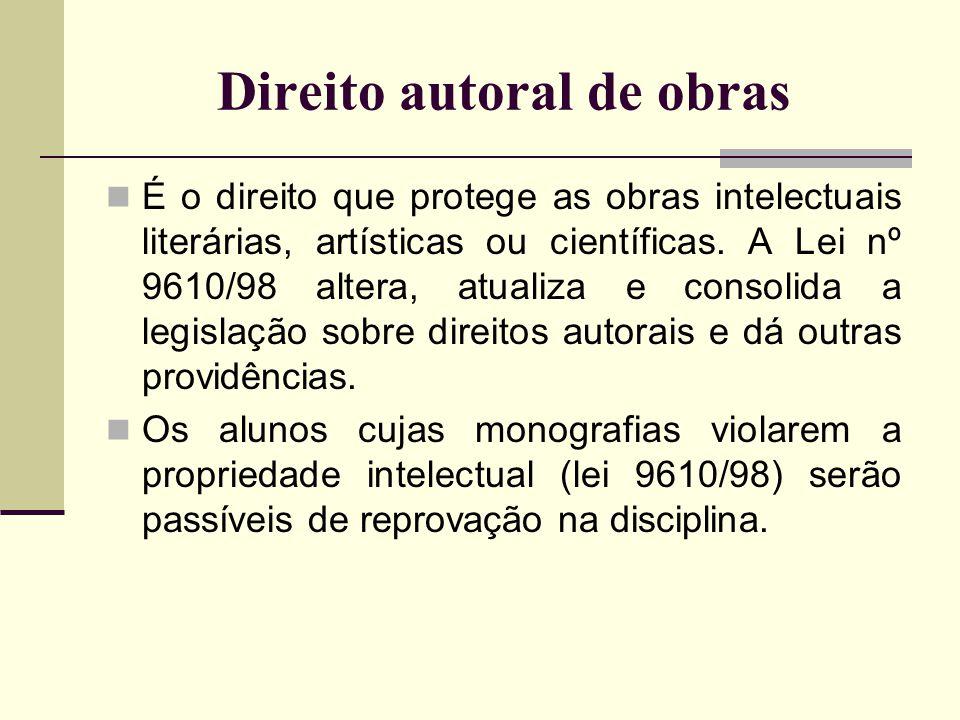 Direito autoral de obras É o direito que protege as obras intelectuais literárias, artísticas ou científicas. A Lei nº 9610/98 altera, atualiza e cons