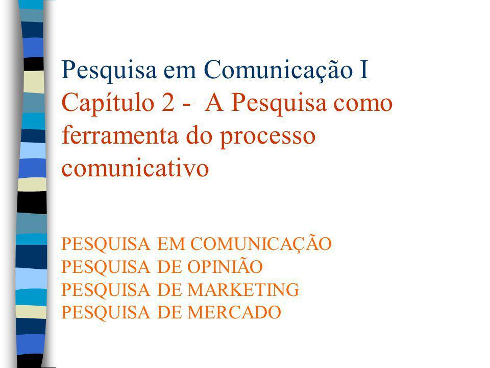 PESQUISA EM COMUNICAÇÃO É o estudo científico dos elementos que integram o processo comunicativo, a análise de todos os fenômenos relacionados ou gerados pela transmissão de informações, sejam dirigidas a uma única pessoa, a um grupo ou a um vasto público.