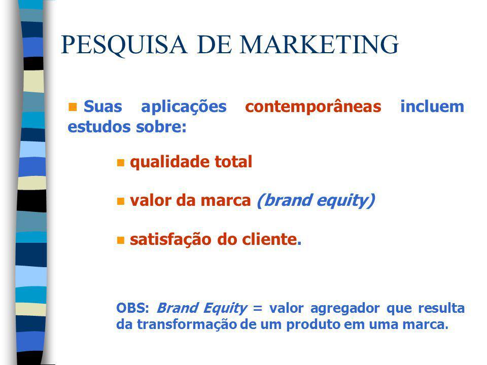 PESQUISA DE MARKETING n Suas aplicações contemporâneas incluem estudos sobre: n qualidade total n valor da marca (brand equity) n satisfação do client
