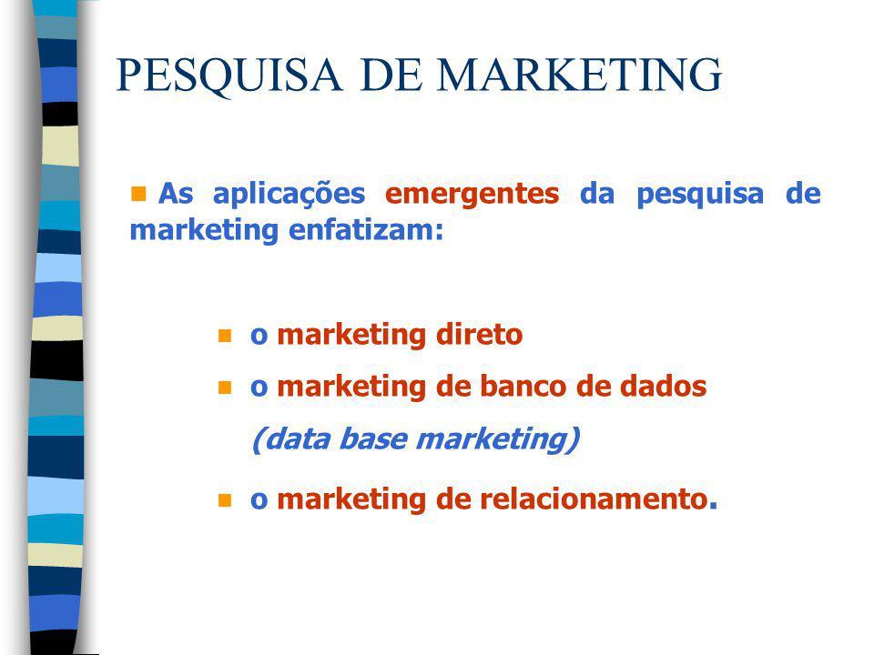 PESQUISA DE MARKETING n As aplicações emergentes da pesquisa de marketing enfatizam: n o marketing direto n o marketing de banco de dados (data base m