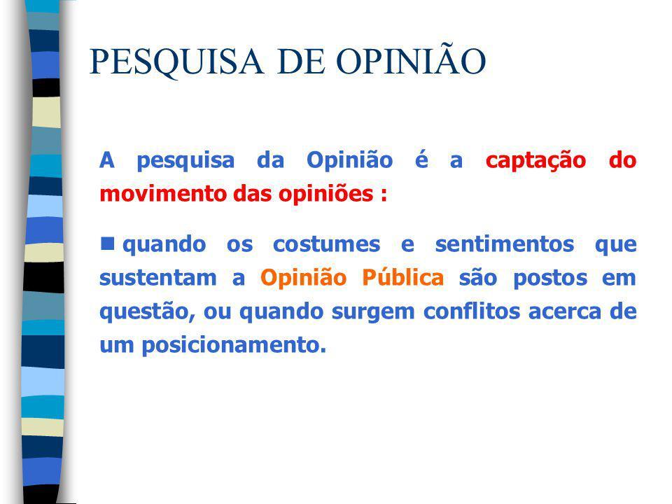 PESQUISA DE OPINIÃO A pesquisa da Opinião é a captação do movimento das opiniões : n quando os costumes e sentimentos que sustentam a Opinião Pública