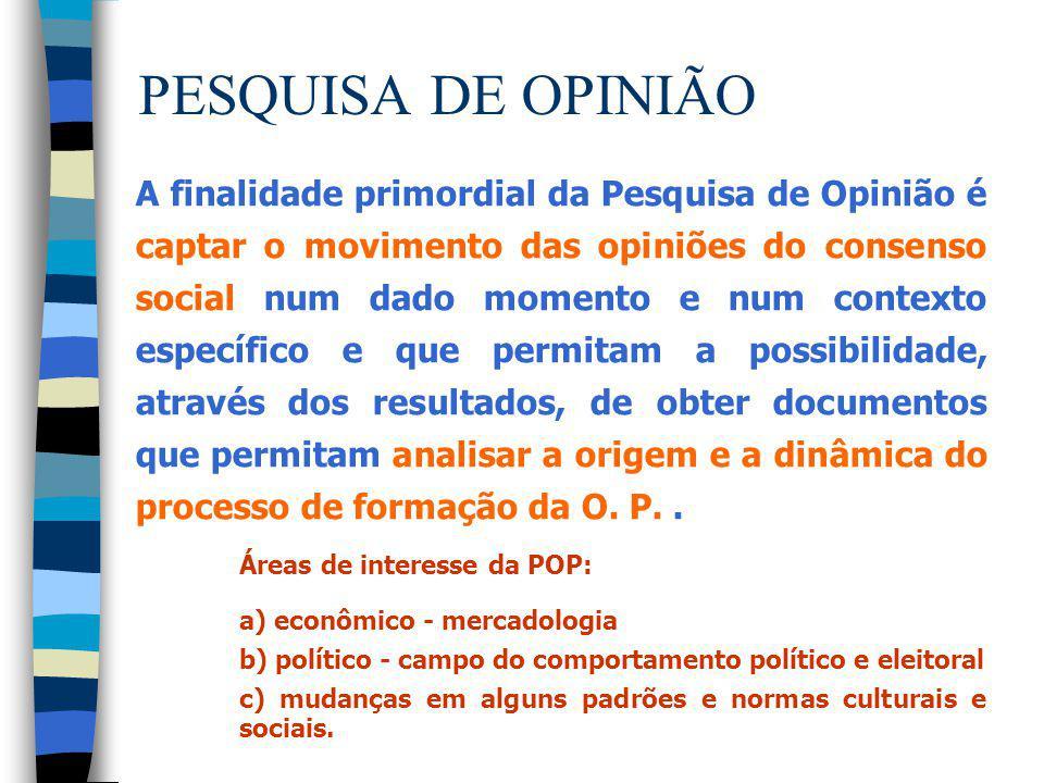 PESQUISA DE OPINIÃO A finalidade primordial da Pesquisa de Opinião é captar o movimento das opiniões do consenso social num dado momento e num context
