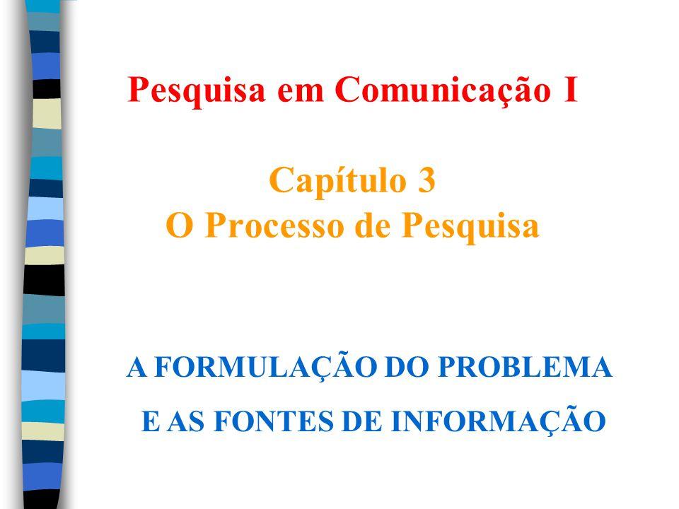 Pesquisa em Comunicação I Capítulo 3 O Processo de Pesquisa A FORMULAÇÃO DO PROBLEMA E AS FONTES DE INFORMAÇÃO