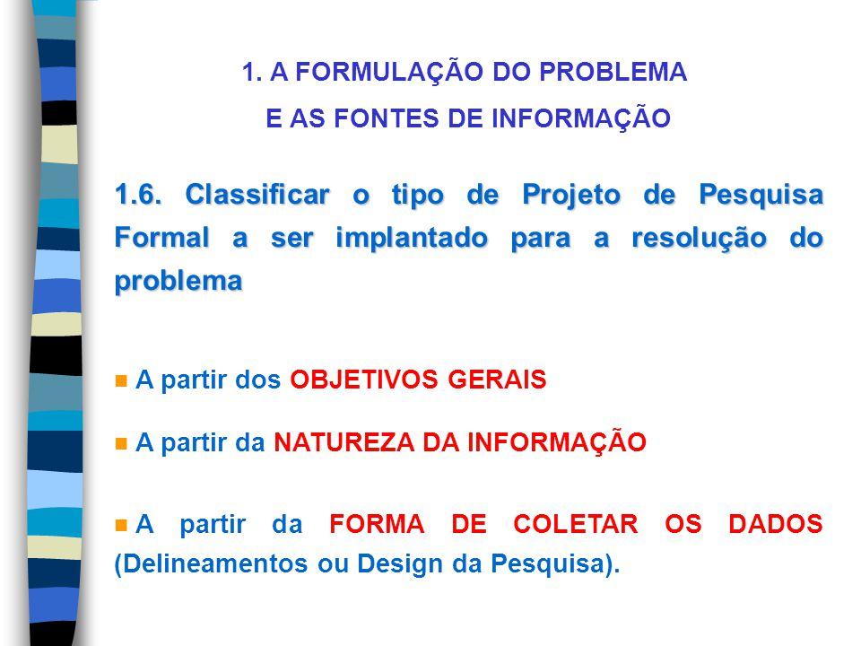 1. A FORMULAÇÃO DO PROBLEMA E AS FONTES DE INFORMAÇÃO 1.6. Classificar o tipo de Projeto de Pesquisa Formal a ser implantado para a resolução do probl