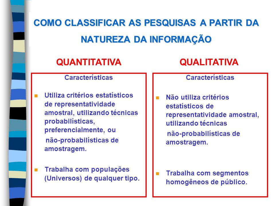 COMO CLASSIFICAR AS PESQUISAS A PARTIR DA NATUREZA DA INFORMAÇÃO Características n Utiliza critérios estatísticos de representatividade amostral, util