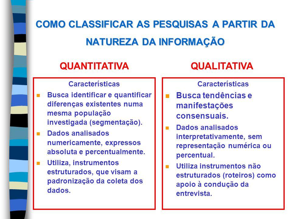 COMO CLASSIFICAR AS PESQUISAS A PARTIR DA NATUREZA DA INFORMAÇÃO Características n Busca identificar e quantificar diferenças existentes numa mesma po