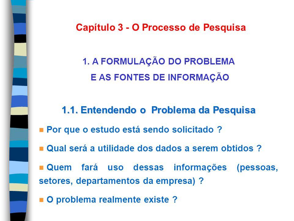 Capítulo 3 - O Processo de Pesquisa 1. A FORMULAÇÃO DO PROBLEMA E AS FONTES DE INFORMAÇÃO 1.1. Entendendo o Problema da Pesquisa n Por que o estudo es