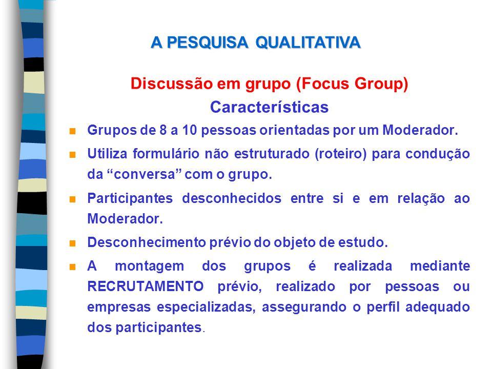 Discussão em grupo (Focus Group) Características n Grupos de 8 a 10 pessoas orientadas por um Moderador. n Utiliza formulário não estruturado (roteiro
