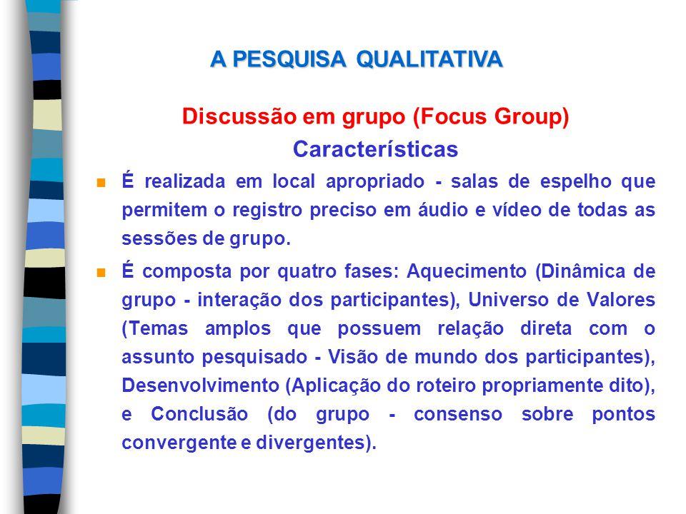 Discussão em grupo (Focus Group) Características n É realizada em local apropriado - salas de espelho que permitem o registro preciso em áudio e vídeo