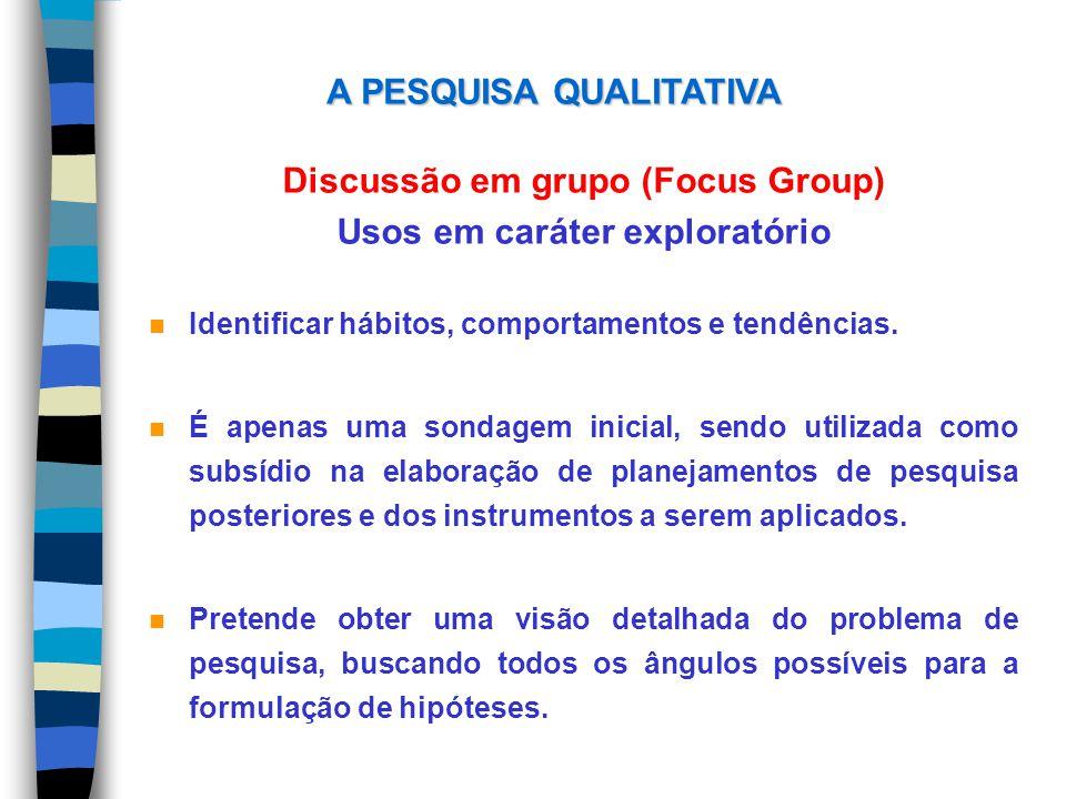 Discussão em grupo (Focus Group) Usos em caráter exploratório n Identificar hábitos, comportamentos e tendências. n É apenas uma sondagem inicial, sen